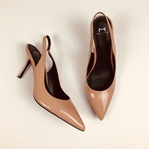 MARC FISHER nude pink sling back pointy heels